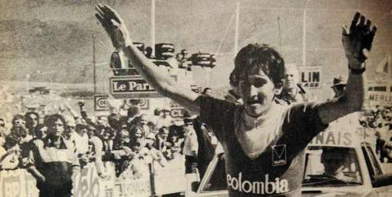 Lucho Herrera becomes the first amateur and the first Colombian to win a Tour de France stage. 1984.