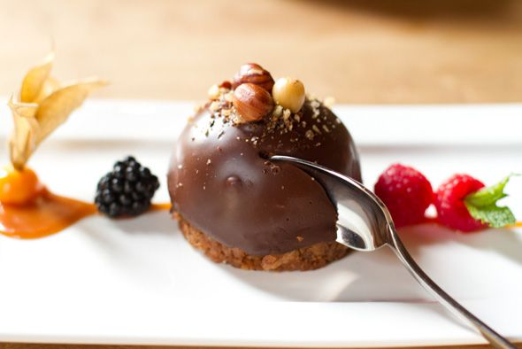 Baci Chocolate desert (hazlenut puree, praline, chocolate mousse filling) from Cibo Wine Bar