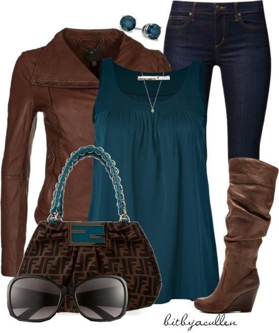 jeans, marrón y azul petróleo