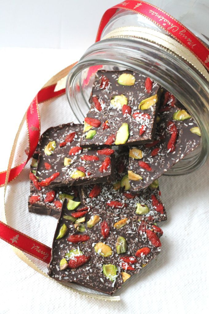 Superfood Chocolate Bark. A healthy Christmas snack made with dark chocolate and topped with pistachios, goji berries and shredded coconut | My Fussy Eater