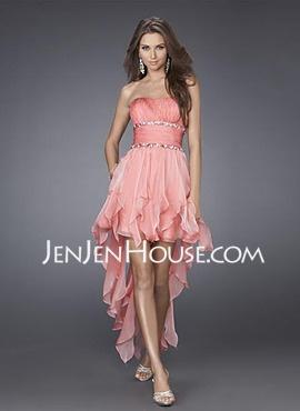 A-Line/Princess Sweetheart Asymmetrical Chiffon  Charmeuse Homecoming Dresses With Ruffle  Beading (022004403)