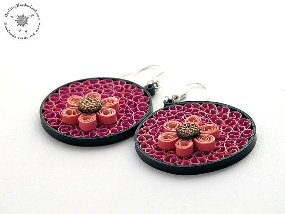 Paper earrings - pastel pink- round dangle earrings - flower floral  - pink daisy - paper quilling - paper jewelry - hadmade - eco friendly