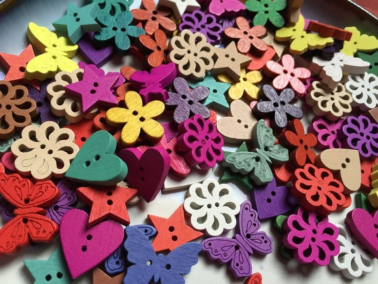 Mixed Colourful Flat Wooden buttons - 25 buttons from beadzandbuttons & co by DaWanda.com