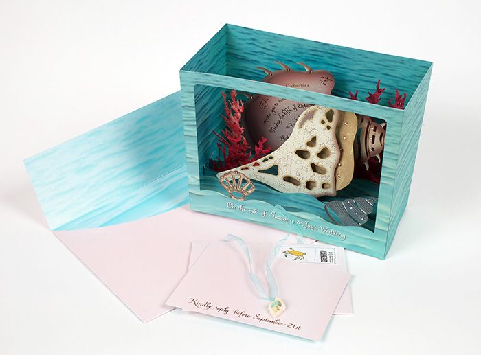 3D Rehearsal dinner invitation, with Swarovski cyrstals
