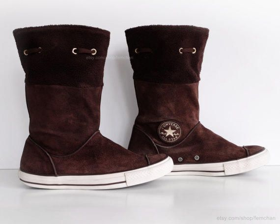 Brown suede Converse boots with soft fleece cuffs, calf high leather Converse, vintage boots. Size eu 41 (UK 7.5, US from Femchan. Saved to My products. #boots #converse #suede.