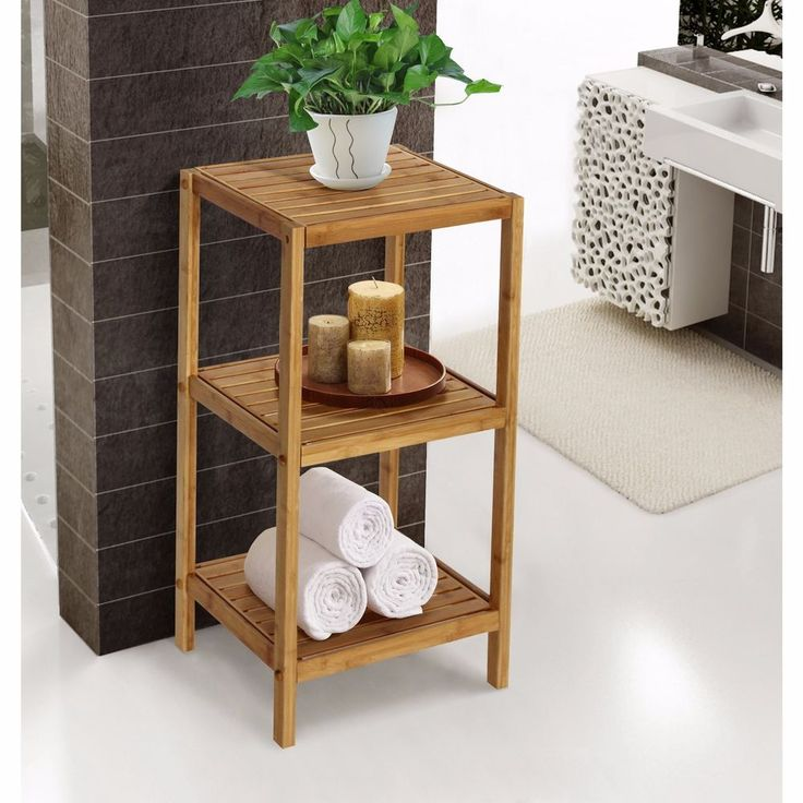 natural bamboo spa 3shelf tower bathroom storage towel linen laundry organizer