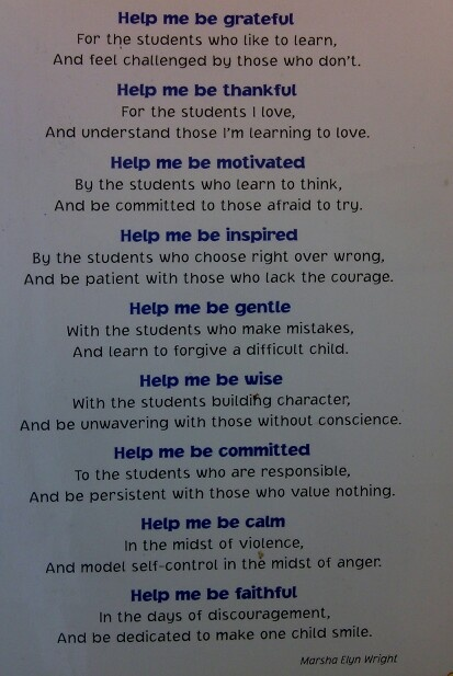 A Teacher's Prayer- For the week before Christmas break this prayers is needed!
