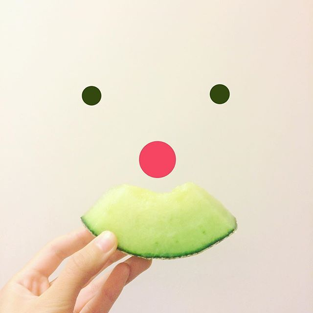 S M I L E - Sweet melon as mustache! 😜 Have a happy weekend!