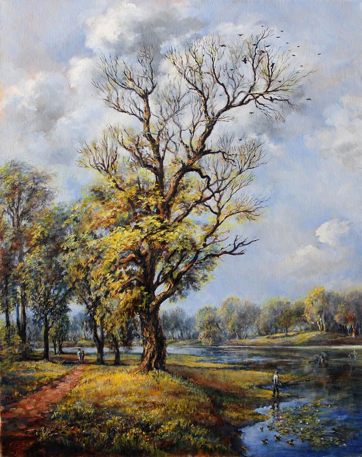 Landscape Painting - Sunny Day In The Park by Leonid Polotsky