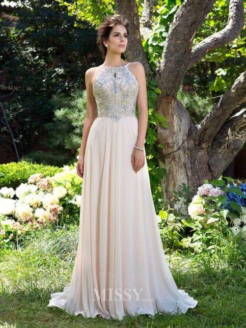 A-line/Princess Spaghetti Straps Sleeveless Sweep/Brush Train Chiffon Prom Dress…