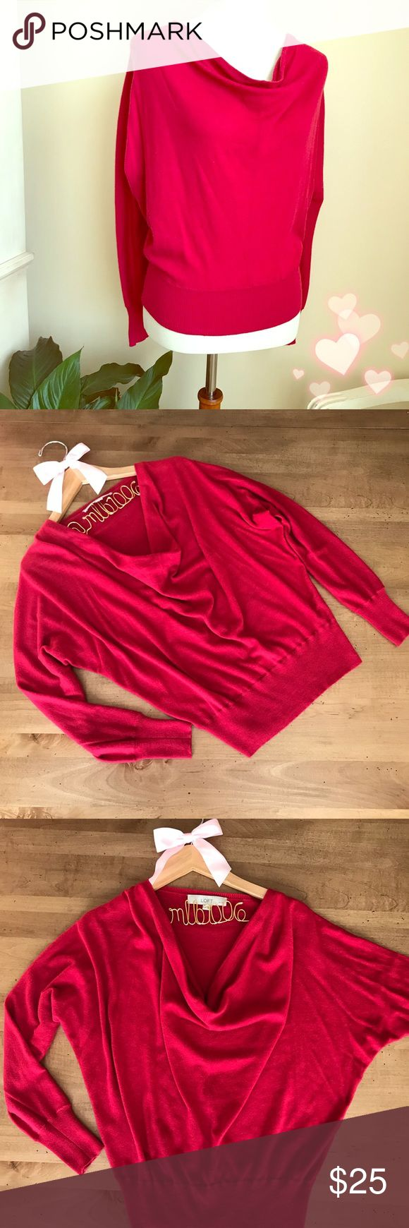 ❤️Anne Taylor LOFT Cowl Neck Red Sweater Anne Taylor LOFT Cowl Neck Red Sweater with Dolman sleeves. EUC. Perfect for Valentine's Day! ❤️❤️❤️ LOFT Sweaters Cowl & Turtlenecks