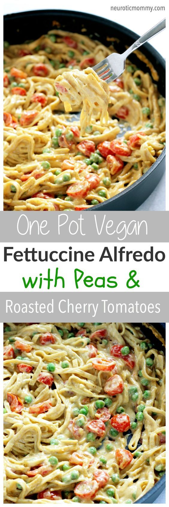 One Pot Vegan Fettuccine Alfredo with Peas and Roasted Cherry Tomatoes - Creamy healthy deliciousness all in one pot. NeuroticMommy.com #vegan #dinner #healthy