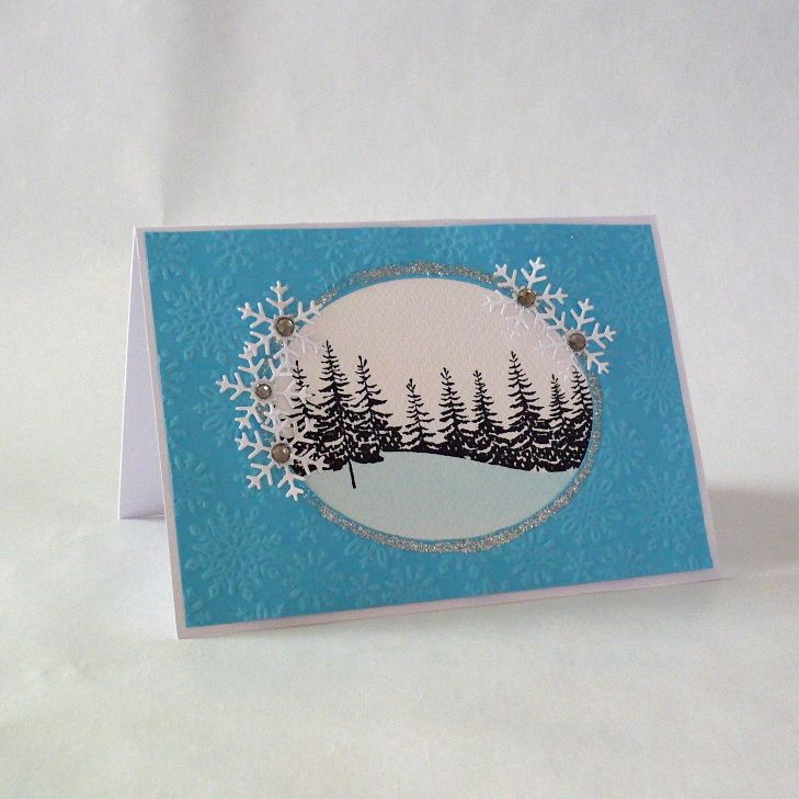 Christmas cards - Christmas, winter, snow, snowflakes, forest