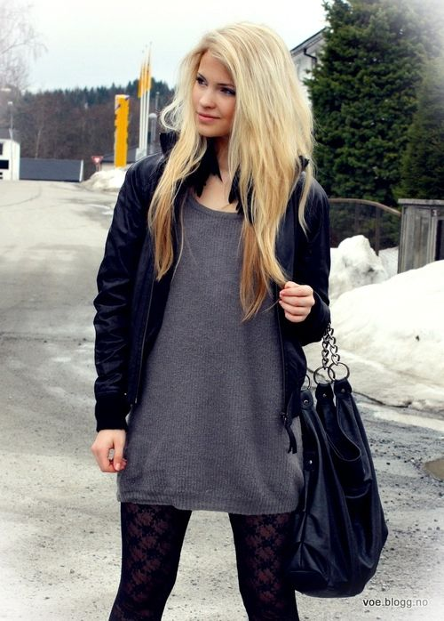 Grey sweater-dress, Tights, Black leather jacket Comfy outfit