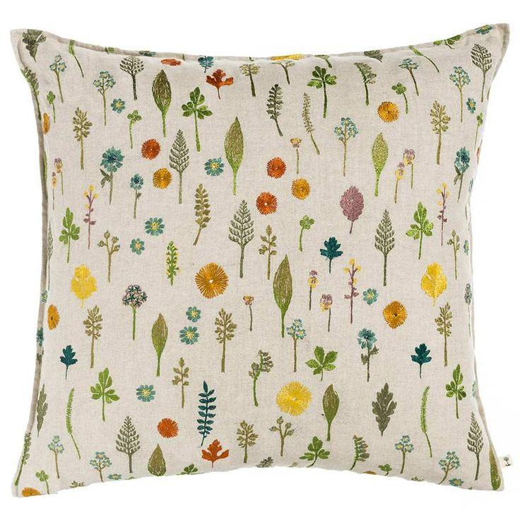 Garden Pattern Embroidered Linen Pillow