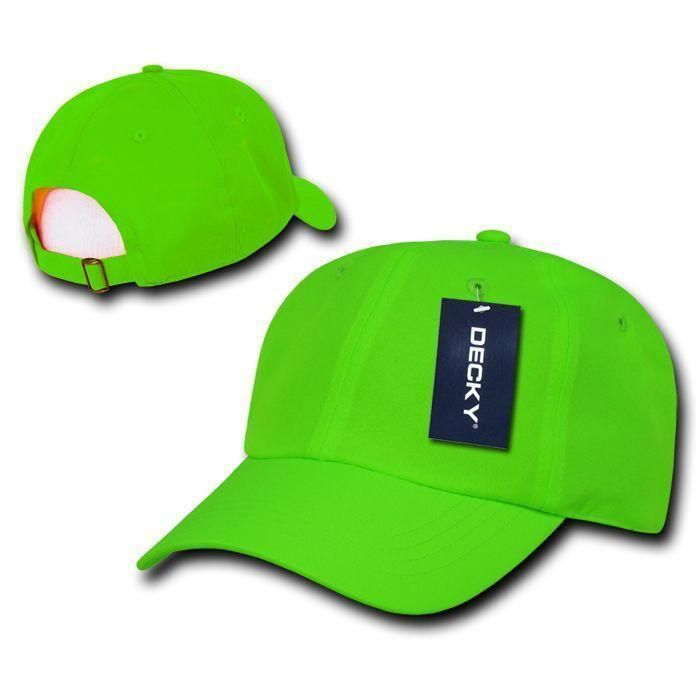 b7c8e93c2e103 Decky Blank Neon Pre Curved Bill 6 Panel Low Crown Dad Hats Caps in ...
