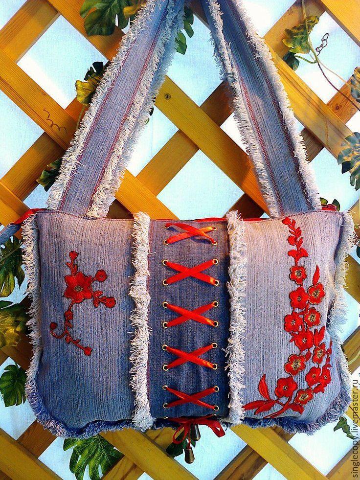 Купить Джинсовая сумка с бахромой и красной шнуровкой - голубой, джинсовая сумка, женская сумка