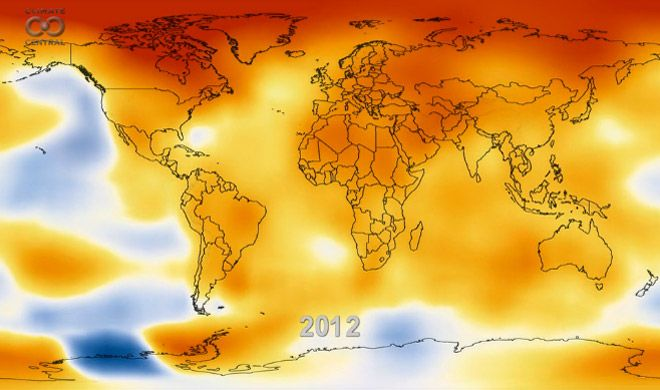 An amazing 13-second NASA animation depicting how the globe has warmed during the period of 1950 to 2012.