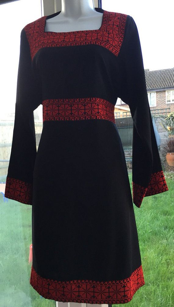 Black dress with Red Palestinian Cross Stitch / Embroidery