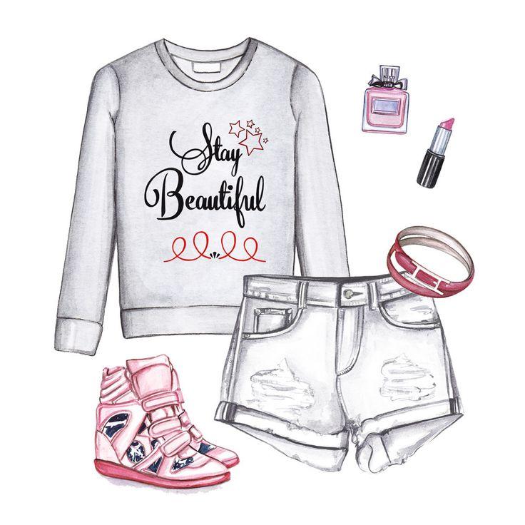 Quote sweatshirt, white shorts, sneakers