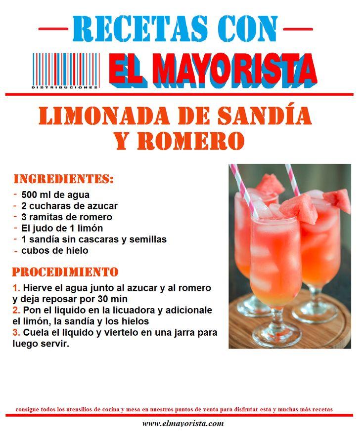 #viernes de #recetas con #elmayorista LIMONADA DE SANDÍA Y ROMERO  Consigue todos los utensilios de mesa y cocina en nuestros puntos de venta para disfrutar esta y muchas recetas más.