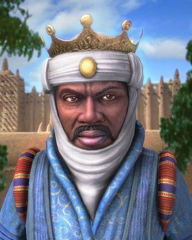 This is a painting of Mansa Musa, the most renowned ruler of the empire of Mali. He brought Mali to the height of its power by expanding the empire. He founded the college and library of the Sankore Mosque in Timbuktu. After Mansa Musa's death in 1337, the empire of Mali declined.