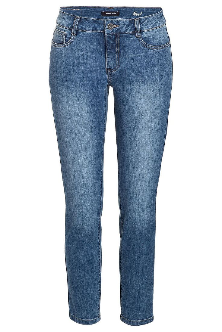 Sommerlich-verwaschene Jeans von MORE & MORE im klassischen 5-Pocket Cut. Material: 78% Baumwolle, 21% Polyester, 1% Elasthan...