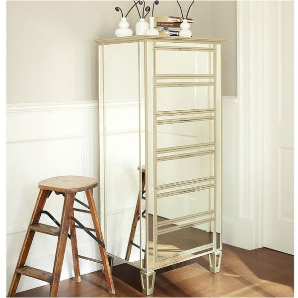 pottery barn mirrored furniture. pottery barn park mirrored tower dresser u20ac895 liked on polyvore featuring home furniture