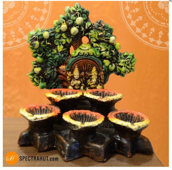Spectrahut presents an exciting, designer, unique Diya which is very elegantly designed. Traditional handmade terracotta diyas are perfect Decor item and ideal gift for Diwali. Let your world be illuminated by our vivacious collection of diyas.