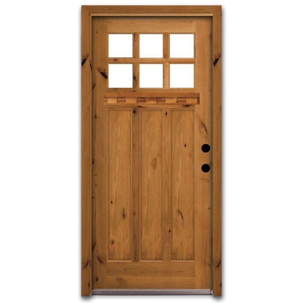Steves sons craftsman 6 lite stained knotty alder wood for Wooden front doors fitted