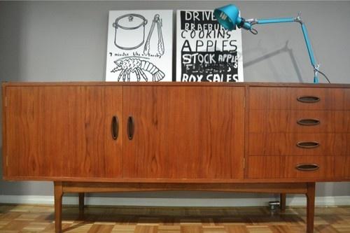 retro, vintage, Fred Lowen- FLER SIDEBOARD/BUFFET, danish style, parker era