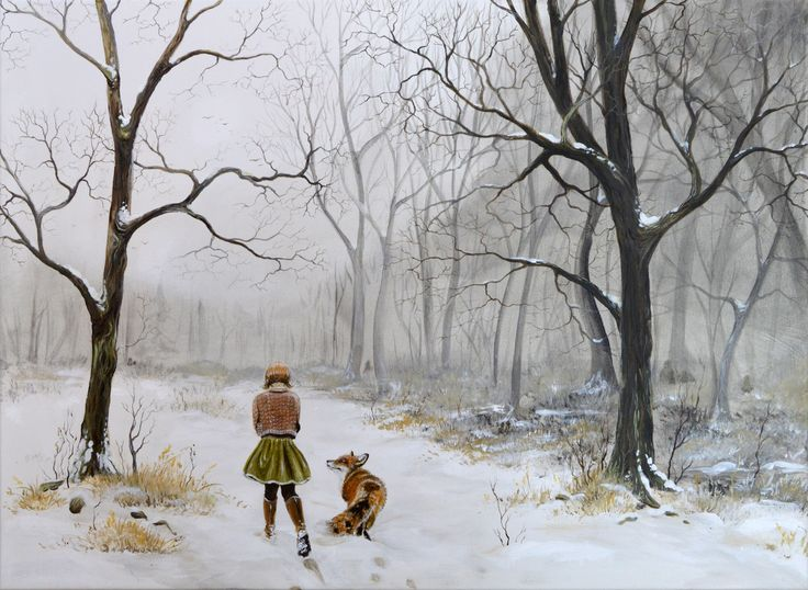 """""""By your side"""", acrylic on canvas, 80x60 cm, 2017. By artist Lisbeth Thygesen.  Winter, landscape, forest, clearing, trees, woods, woodland, friends, fox, girl, cold, winter, snow, nordic, scandinavian"""
