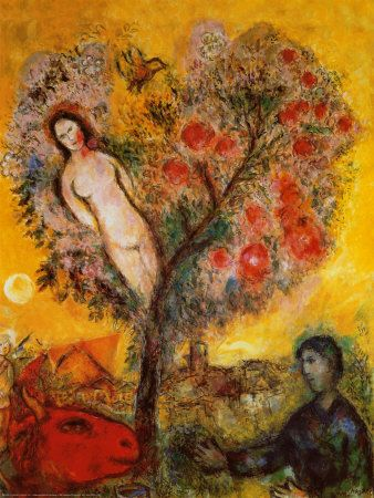 La Branche by Marc Chagall. Art print from Art.com.  Would like to have this print of Adam & Eve and the apple tree with the devil watching.