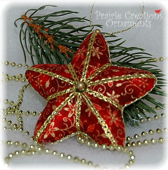 quilted christmas ornaments | Star Christmas Quilted Ornament Burgundy and by MyPrairieCreations
