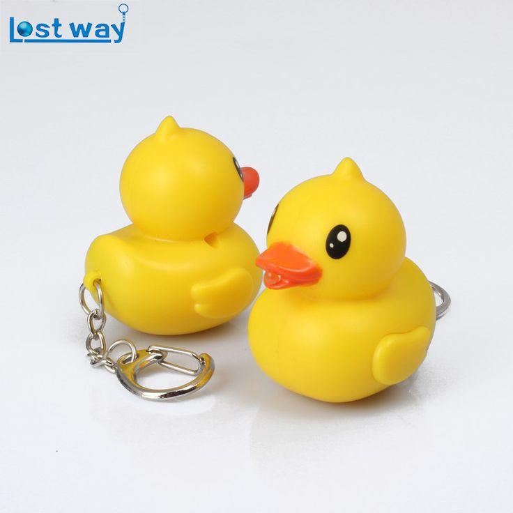 LostWay Fashion LED New Yellow duck Sound Flashlight Keychains Alliance Key Ring Keyhoder Chaveiro gift For Friend #Affiliate