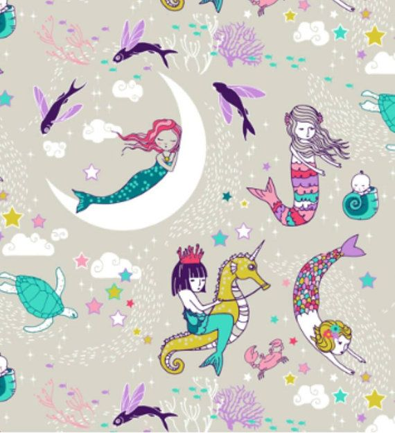 Custom Minky Print Mermaid Candy In Moderate By