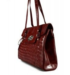 Skøn stor dametaske med flet foran fra The Monte i rød kalveskind - 52144