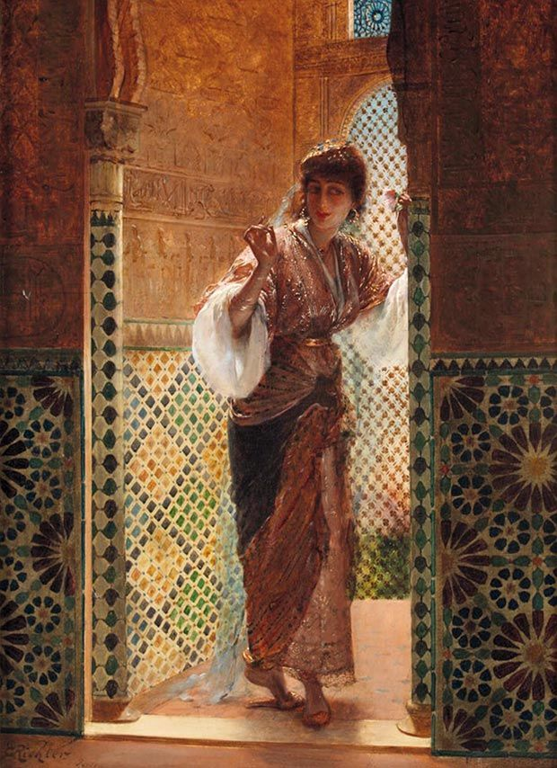 Edouard Richter (1844-1913) / Oriental Beauty, Oil on canvas, signed and located 'E Richter Paris' (lower left), 25.9 x 17.3 in / Courtesy of Galerie Alhambra