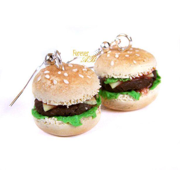 Orecchini Panini hamburger farciti in fimo idea regalo ragazza donna, by Forever AB, 8,00 € su misshobby.com