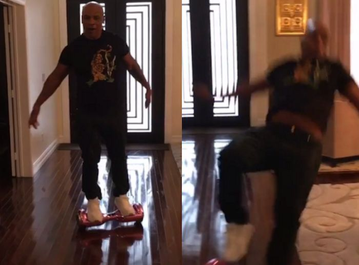 Mike Tyson falls from hoverboard and breaks his back