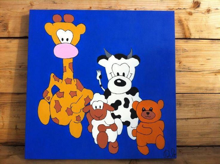 TE KOOP!! Rennende dieren Acrylverf . 50x50x2 cm voor 40 euro!  Voor vragen mail naar: d.bakhuizen26@gmail.com  www.dbhomelycartoons.com