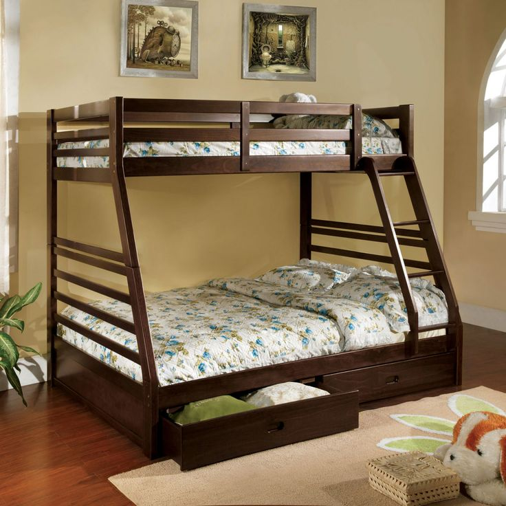 Furniture of America Redden Twin over Full Bunk Bed with Storage Drawers - IDF-BK588EX