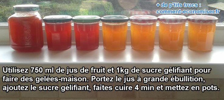gelées maison avec jus de fruits et sucre gélifiant