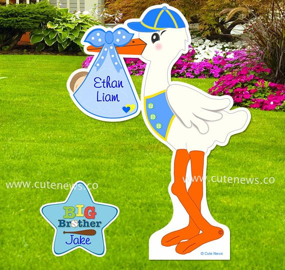 New Baby Boy Yard Stork Sign Kit Custom Newborn Signs Lawn Etsy