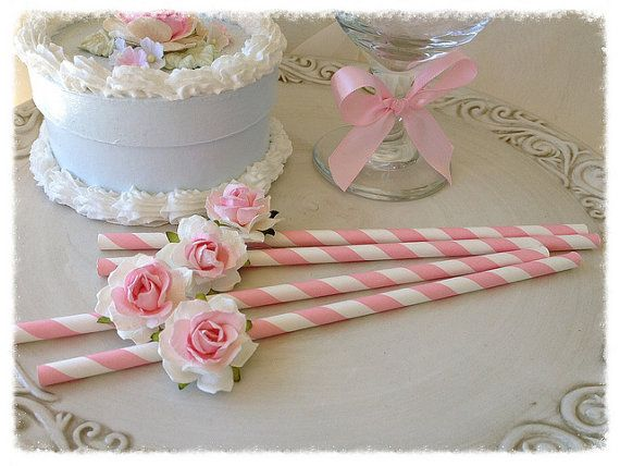 Mother's Day Decoration Shabby Chic Pink Straws for Birthday Party Birthday Ornament  Set of Eight for Tea Party