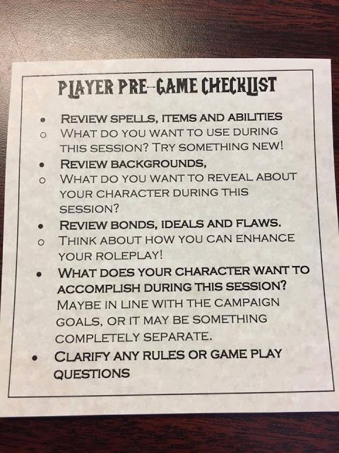 PLAYERS! I've found this picture online and I think could help to focus on your character before a D&D session. If you want, I've made a .pdf so you can download here: D&D Playe…