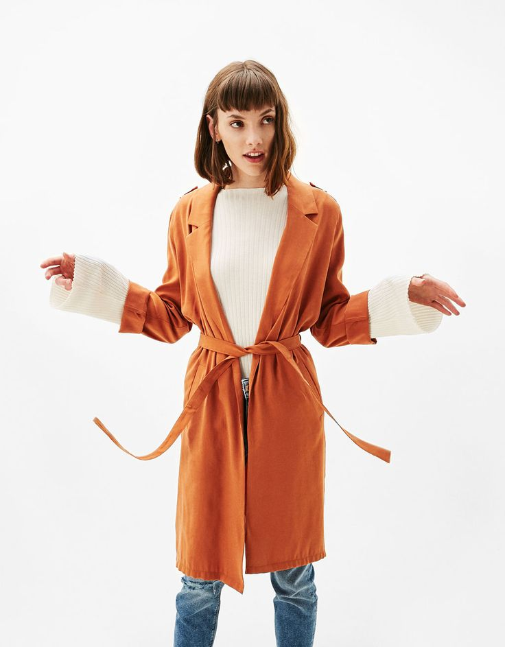 Long soft trench coat with belt - New - Bershka Serbia