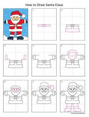 Art Projects for Kids: How to Draw Santa Claus. Printable PDF available to download for free.