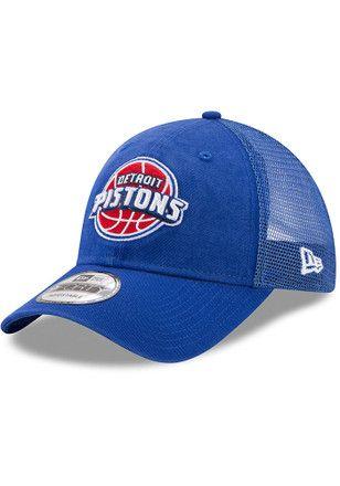 New Era Detroit Pistons Mens Blue Trucker Washed 9TWENTY Adjustable Hat