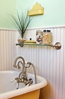 romantic country bathroom decorating ideas - use tongue and groove for a pretty effect